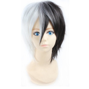 RightOn Monokuma Cosplay Wigs Men's Short Straight Layers Hair Wigs with Bangs with Free Wig Cap and Comb