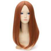 RightOn Captain Black Widow Wig Long Straight Hair Cosplay Costume Party Wig with Free Wig Cap and Comb
