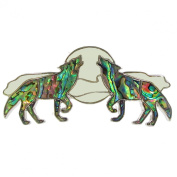 Fashion Frenzy Handmade Abalone Feather Hair Barrette Silver Plated Howling Wolves