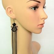 Lvxuan Winter Series Gothic Queen Sexy Black Lace Long Earrings Tassel Design Earrings Drop Earrings for Women