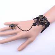 Lvxuan Gothic Vintage Vampire Diaries Same Style Black Lace Jewellery Bracelet Ring Set