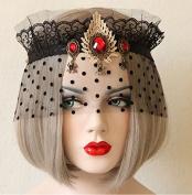 Sexy Black Gauze Veil Mesh Dance Crown Jewel Stone Headpiece/headdress Half Face Mask