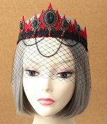Red Vampire Queen Veil Crown Tiara Forehead Frontlet Browband Headpiece/headdress Mask