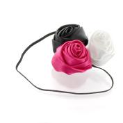 My Lello Satin Rose Flower Cluster on Skinny Headband - black/shocking pink/white