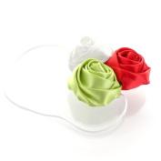 My Lello Satin Rose Flower Cluster on Skinny Headband - white/leaf green/red
