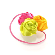 My Lello Satin Rose Flower Cluster on Skinny Headband - hot pink/yellow/lime