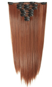 S-noilite® 60cm Straight Light Auburn Full Head Clip in Hair Extensions 8 Piece 18 Clips Hairpiece Trendy Design