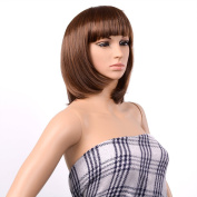 AGPtEK® 33cm High-Quality Bob Style Wig Disco Party Short Straight Bang Hair Heat Resistant Full Wig-Light brown