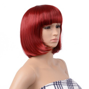 AGPtEK® 33cm High-Quality Bob Style Wig Disco Party Short Straight Bang Hair Heat Resistant Full Wig-Red