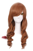 Nuoqi Sexy Ladies Long Classic Brown Wave Anime Cosplay Wigs