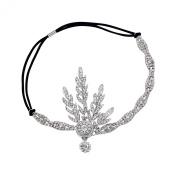 Babeyond® Art Deco 1920's Flapper Great Gatsby Inspired Leaf Medallion Pearl Headpiece Headband Silver