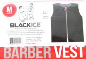 Black Ice Barber Vest Size Black Medium, Professional, barber cape, barber, salon, polyester, fabric, polyester fabric, high quality, fish net, convenient, haircut, hair cutting, hair salon, stylist, hair stylist , hair styling cape