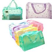 Cosmetic Bag Organiser Toiletry Bathing Storage Bag Waterproof Transparent Floral Travel Wash