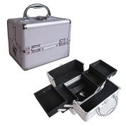 BerucciTM Professional Silver 20cm Lightweight Aluminium Makeup Artist Organiser Kit with 4 Extendable Trays, Aluminium Trimming, Lock and Keys, and Shoulder Strap