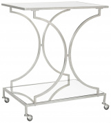 Safavieh Ignatius Bar Cart, Silver/Mirror Top