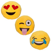 Babyhaven Emoticon Novelty Emoji Stuffed Pillow, 3 Pack, Popular Picks