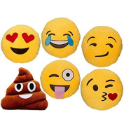 Babyhaven Emoticon Novelty Emoji Stuffed Pillow, 6 Pack, Most Popular