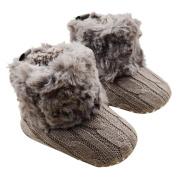 Sunward Toddler Baby Girls Knit Soft Fur Winter Warm Snow Boots Crib Shoes (13CM