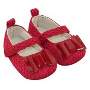Aivtalk Infant Toddler Baby Girls Princess Bowknot Soft Sole Prewalker Crib Shoes - Red 13cm