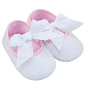 Aivtalk Infant Baby Girls Princess Bowknot Ribbon Soft Sole Prewalker Crib Shoes - White 11cm