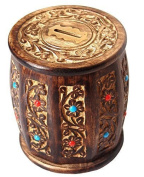 Decorative Antique Hand Crafted Wooden Money Bank Safe Piggy Bank for Girls & Boys 12.5 x 12.5 x 15 cm