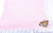 Knitted Crochet Finished Pink Cotton White Trim Baby Blanket Tiger Cub