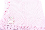 Knitted Hand Crochet Finished Pink Cotton Baby Blanket with Large White Bear