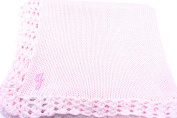 Knitted Hand Crochet Finished Pink Cotton Baby Blanket with Chosen Monogram