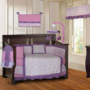 Pink and Purple Girls Damask 10 Piece Baby Crib Bedding Set