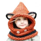 Malloom Cute Winter Baby Kids Fox Ear Hat Hooded Beanie Windproof Scarf Warm Knitted Cap Gift