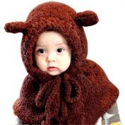 Malloom Winter Lovely Baby Girls Windproof Plush Bear Hats Shawls Hooded Cowl Beanie Caps