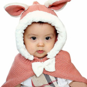 Malloom Baby Girls Winter Knit Wool Rabbit Ear Hats with Shawls Hooded Cowl Beanie Caps