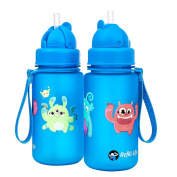 New Monster Water Bottle Kids with Straw | Leak Proof | 350ml Flip Top | BPA Free | Blue