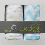 MakBB Baby Swaddle Blanket, Bamboo Rayon, 2 count 120cm x 120cm (Blue - Boy).