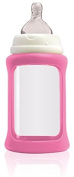 Cherub Baby Wide Neck Glass Baby Bottle * NatriBaby Bottle with Colour Changing Technology & Shock Absorbing Silicone Sleeve * Lightweight * BPA Free * Safe - 240ml Light Pink