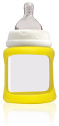 Cherub Baby Wide Neck Glass Baby Bottle * NatriBaby Bottle with Colour Changing Technology & Shock Absorbing Silicone Sleeve * Lightweight * BPA Free * Safe - 150ml Yellow
