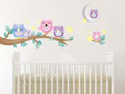 Sunny Decals 139P Owl Fabric Wall Decals with Branch