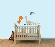 Dinosaur Wall Decals, T-rex, Neutral Colour Fabric Wall Stickers for Boys