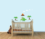 Dinosaur Wall Mural, Triceratops, Colourful Fabric Wall Decals for Boy's Room