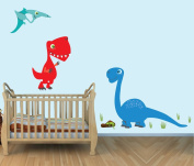 Large Dinosaur Wall Decals, T-rex, Colourful Fabric Wall Stickers for Baby Room