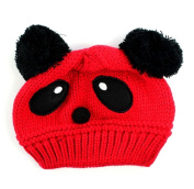Dealzip Inc® Cute Unisex Children Kids Toddler Panda Pattern Red Wool Knit Woven Winter Beanie Hat Cap