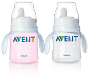 Philips Avent Bottle to First Cup Trainer 4 Months and Up - Pink/Clear