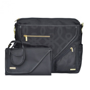 JJ Cole Metra Nappy Bag, Black and Gold