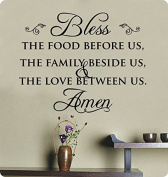 70cm Bless the Food Before Us the Family Beside Us and the Love Between Us Wall Decal Sticker Art Mural Home Décor Quote Lettering Christian Thanksgiving Kitchen Table