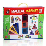 Magical Magnet Building Learning Toy Set for Kids - Magnetic Shapes for All Children and Involved Parents to Enhance Creative Thinking Spatial Logic Colour Shapes Training Critical Thinking - 77pc