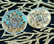 Handmade Czech Glass Buttons Large Crystal Gold Square Flower Size 12, 27mm 1pc