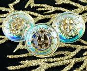 Handmade Czech Glass Crystal AB Gold Scarab Buttons Size 8, 18mm 1pc