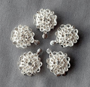 5 pcs Rhinestone Crystal Clasp Silver Plated Brass Single Strand Tab Wedding Jewellery Necklace Bracelet DIY Supply AC080