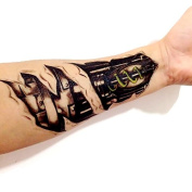 Kotbs 3d Machinery Robot Arm Tattoo Temporary Tattoos Sticker Body Art Fake Tattoo for Men