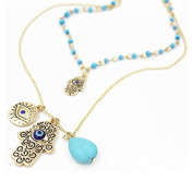 Onairmall Womens Hamsa Necklace Fatima Hand of God Lucky/Evil Eye Charm Layered Pendant Necklace